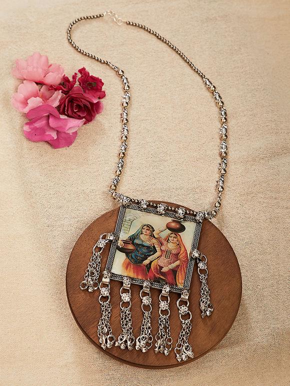 Silver Toned Shekhavati Miniature Handpainted Brass Necklace