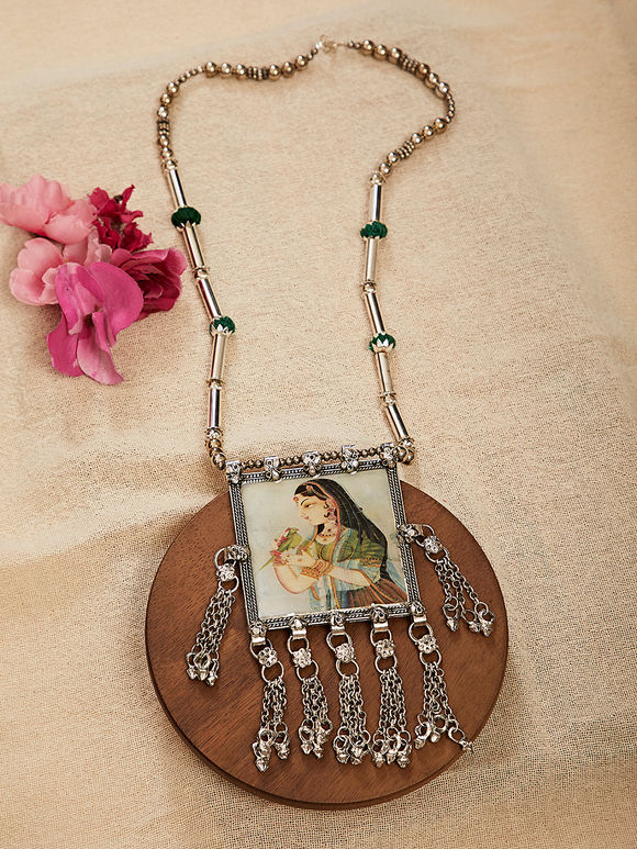 Green Silver Toned Shekhavati Miniature Handpainted Brass Necklace