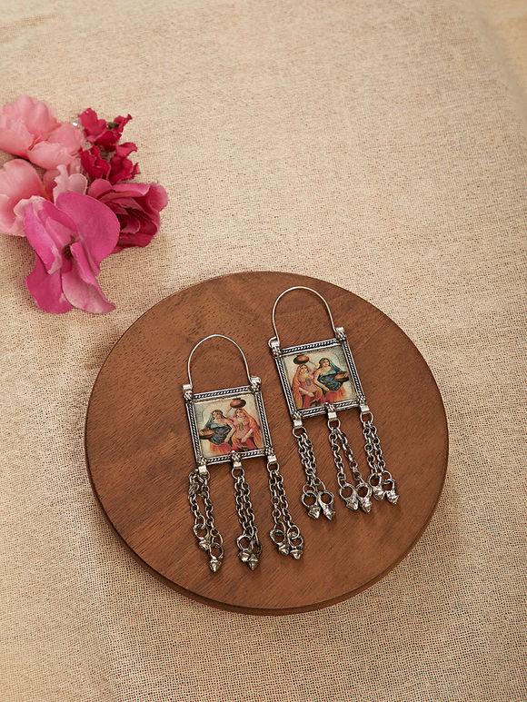 Silver Toned Shekhavati Miniature Handpainted Brass Earrings