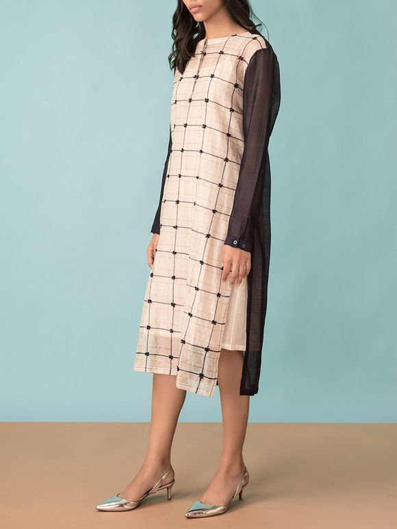 Ivory Black Checkered Chanderi Dress