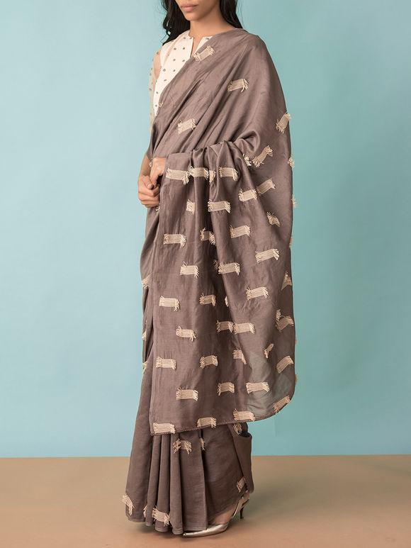 Brown Chanderi Thread Work Saree
