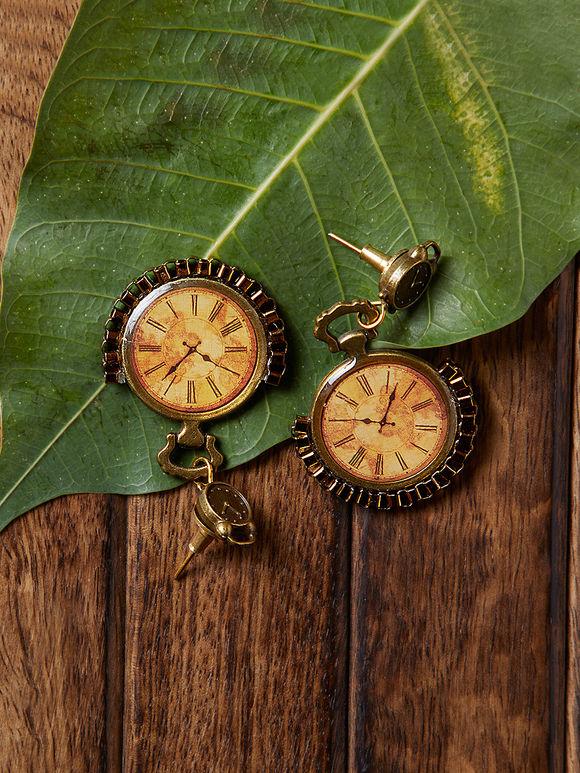 Brown Golden Clock Brass Earrings