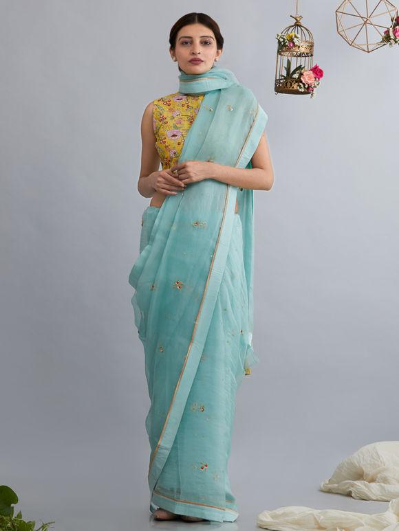 Aqua Hand Embroidered Silk Organza Saree
