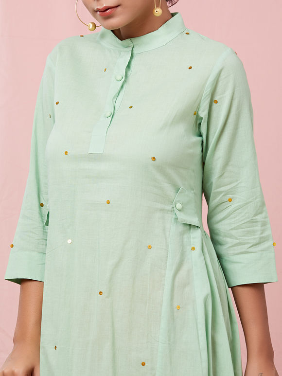 Green Sequins Embroidered Cotton Dress