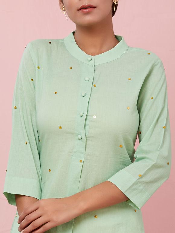 Green Sequins Embroidered Cotton Kurta