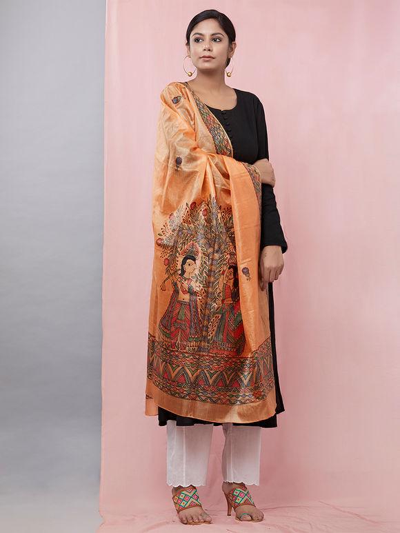 Orange Lord Radha Krishna Hand Painted Madhubani Silk Dupatta
