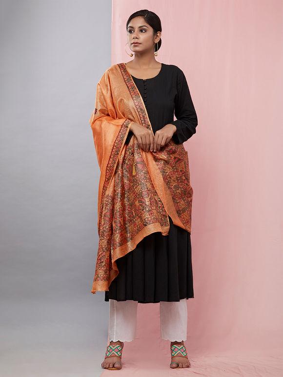 Orange Hand Painted Madhubani Silk Dupatta