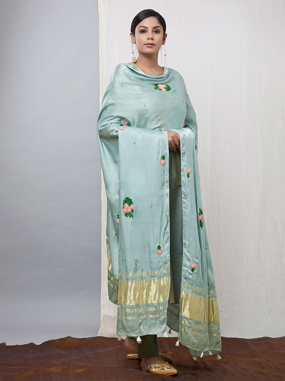 Mint Green Embroidered Gaji Silk Dupatta
