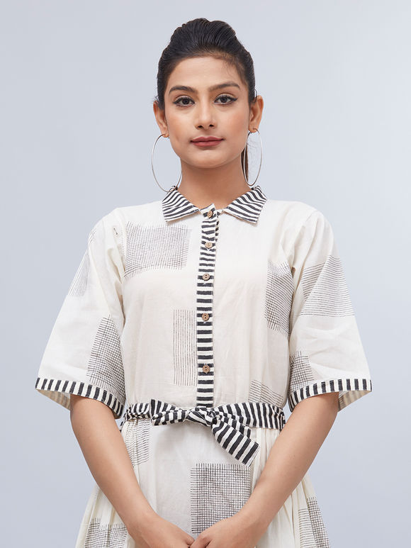 White Black Hand Block Printed Cotton Dress