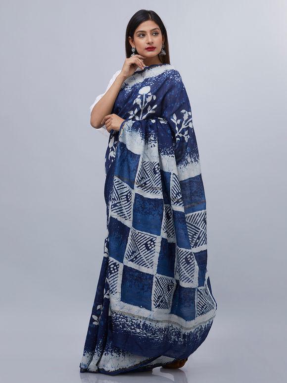Indigo White Floral Printed Chanderi Silk Saree
