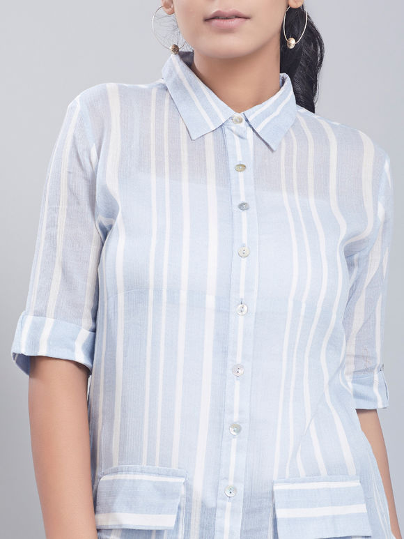 Blue White Striped Cotton Kurta