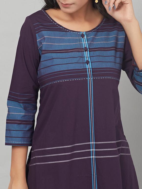 Violet Blue Striped Cotton Silk Kurta with Pants - Set of 2