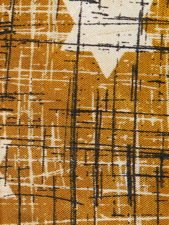 Mustard Yellow Hand Block Printed Mashru Silk Fabric (1 Meter)