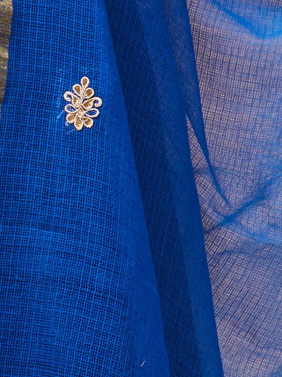 Blue Kota Doria Hand Embroidered Dupatta