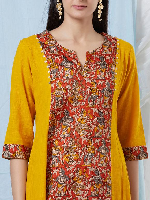Yellow Madhubani Printed Khadi Cotton Kurta