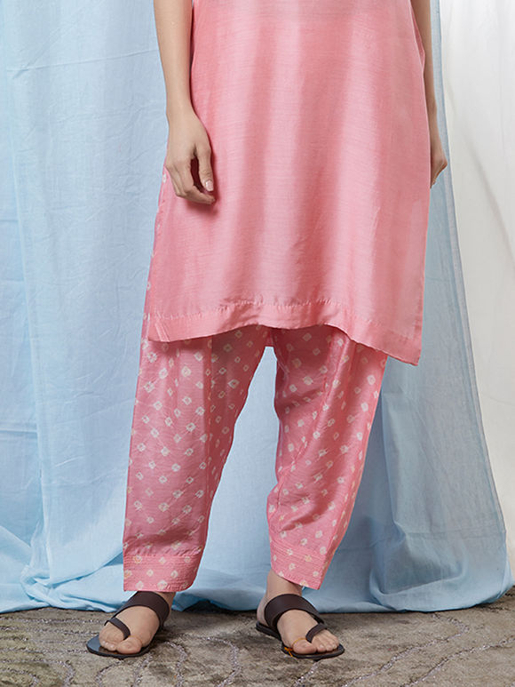 Pink Bandhani Cotton Silk Salwar