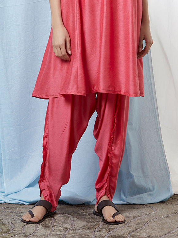 Pink Cotton Silk Dhoti Pants