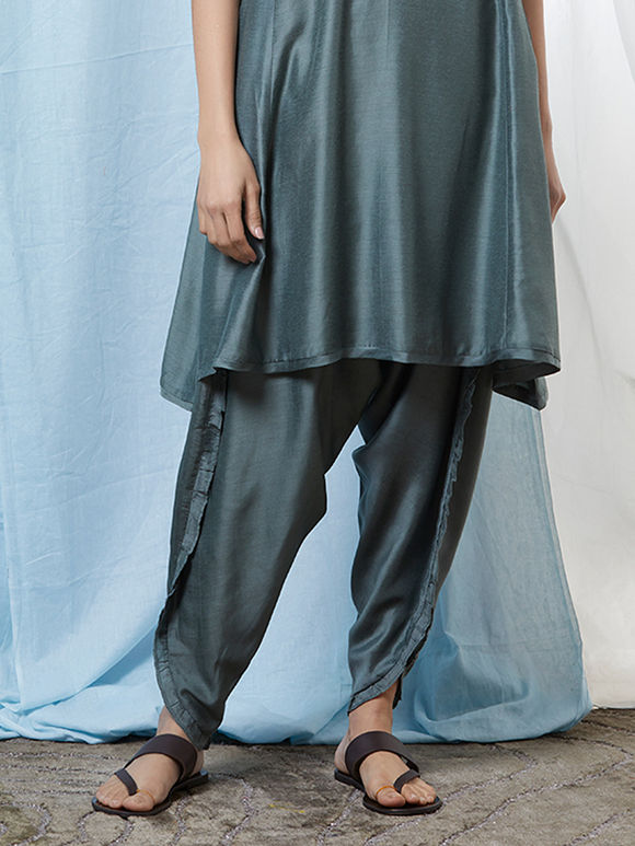 Grey Cotton Silk Dhoti Pants