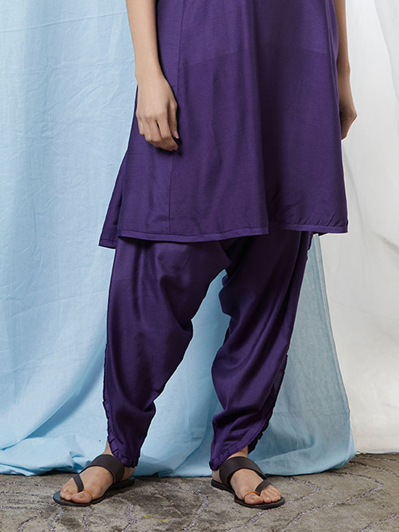 Purple Cotton Silk Dhoti Pants