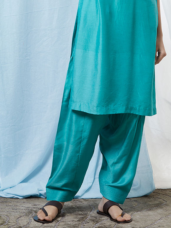 Aqua Blue Cotton Silk Salwar