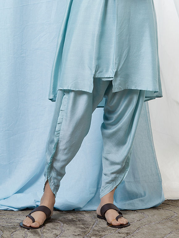 Light Blue Cotton Silk Dhoti Pants