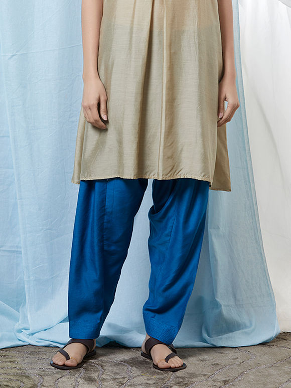 Blue Cotton Silk Salwar