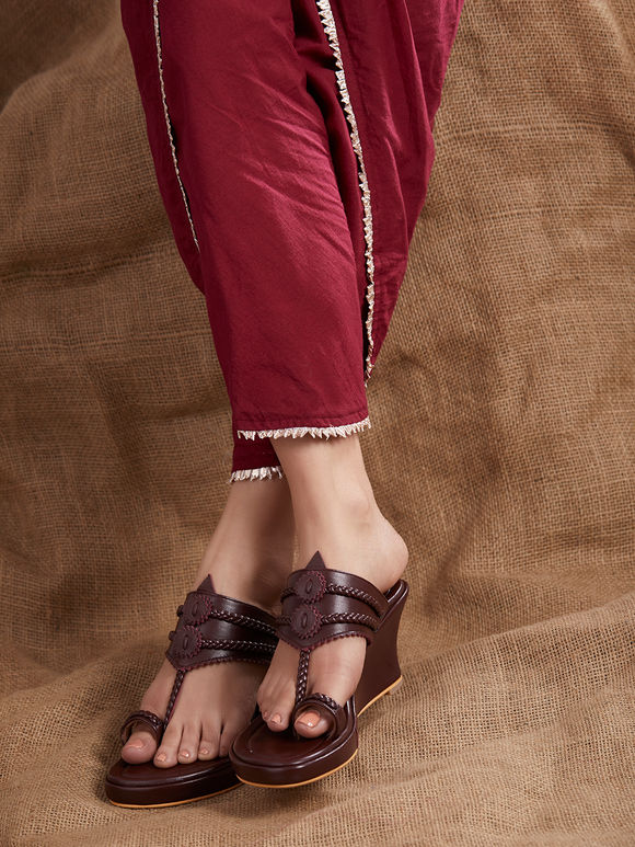 Brown Handcrafted Leather Wedges