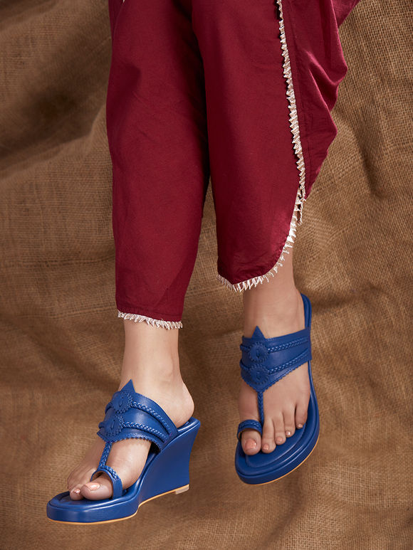 Royal Blue Handcrafted Leather Wedges