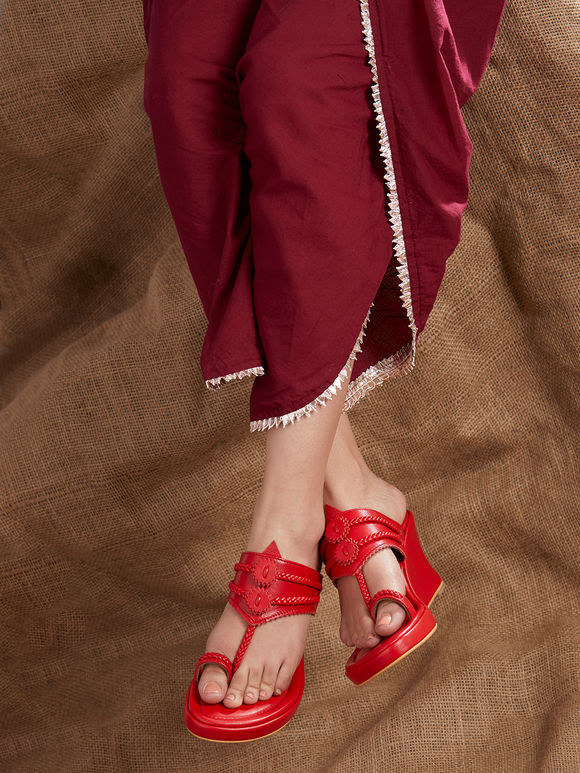 Red Handcrafted Leather Wedges