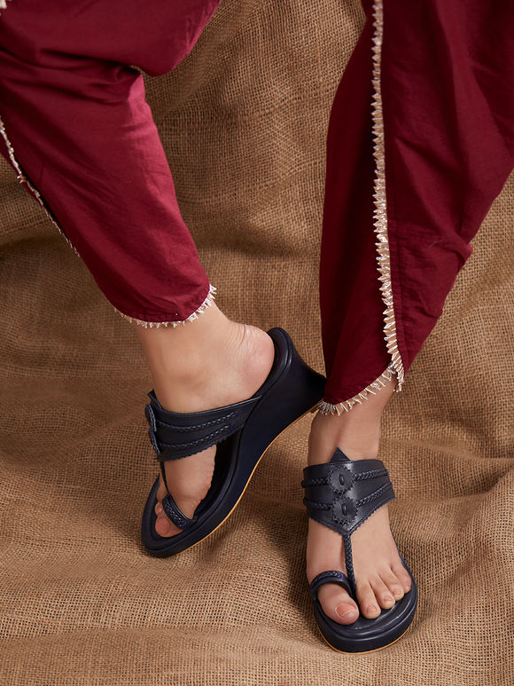 Navy Blue Handcrafted Leather Wedges