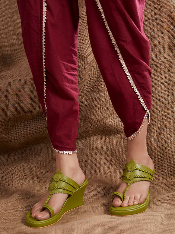 Mehendi Green Handcrafted Leather Wedges