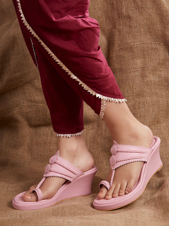 Pink Handcrafted Leather Wedges