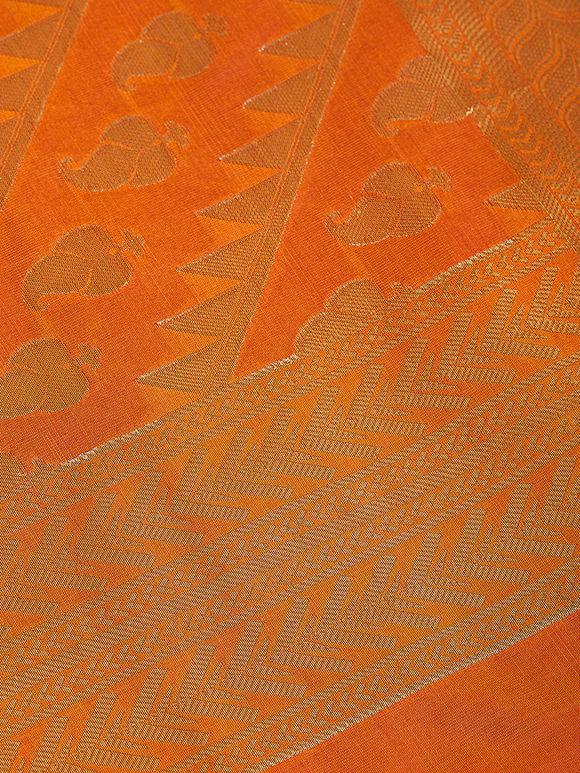 Orange Golden Art Silk Banarasi Dupatta