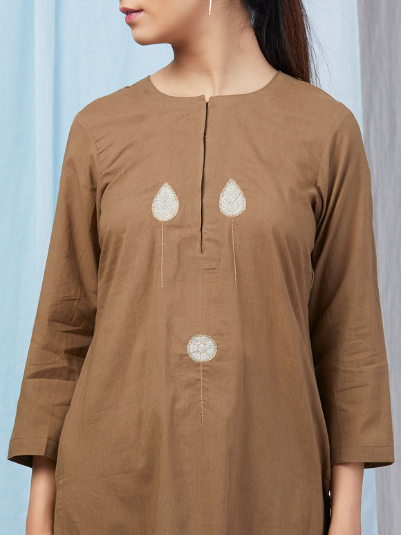 Brown Applique Work Cambric Cotton Kurta with Palazzo - Set of 2
