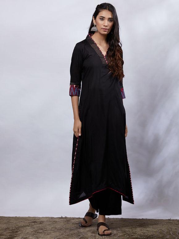 Black Cotton Modal Kurta