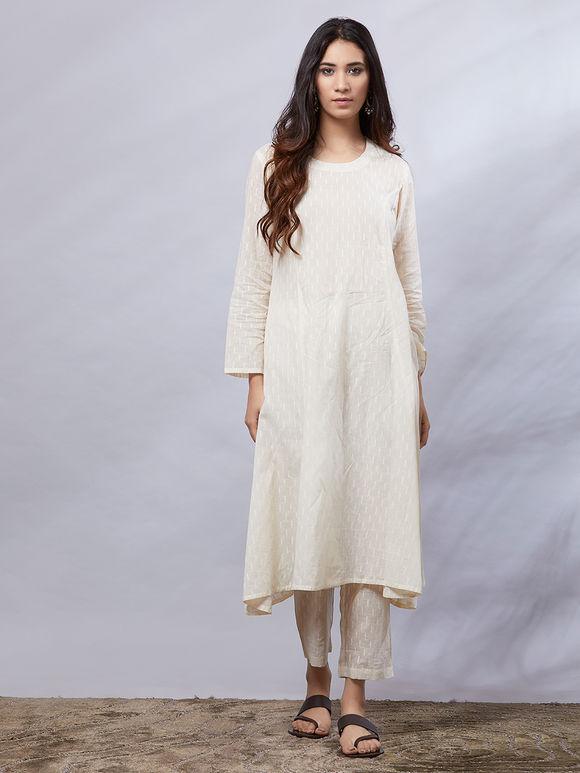 Mustard Yellow-Off White Cotton Suit Set with Bandhani Dupatta - Set of 3