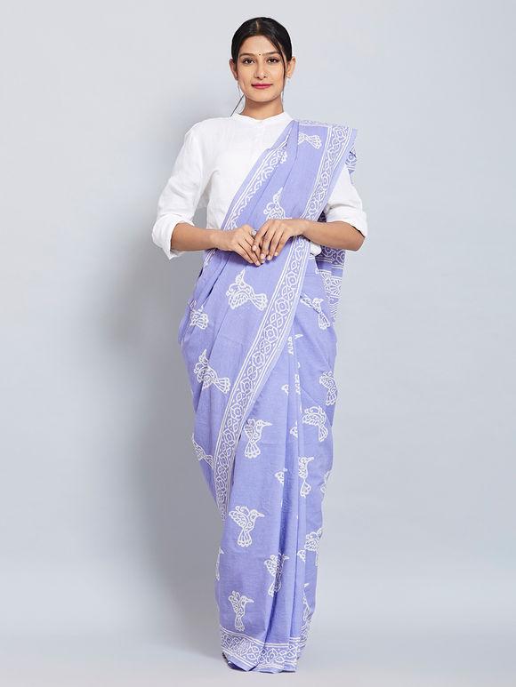 Pale Purple Hand Block Printed Cotton Saree