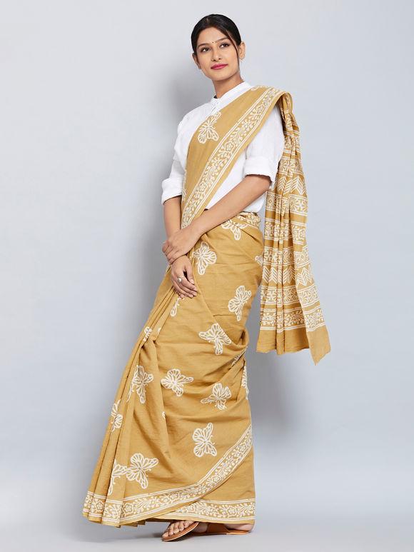 Beige Hand Block Printed Cotton Saree