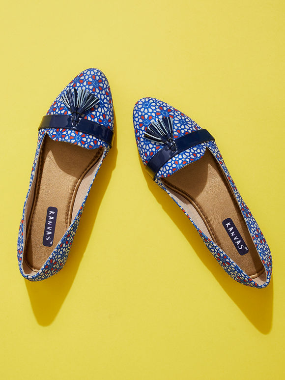 Blue Handcrafted Silk Loafers