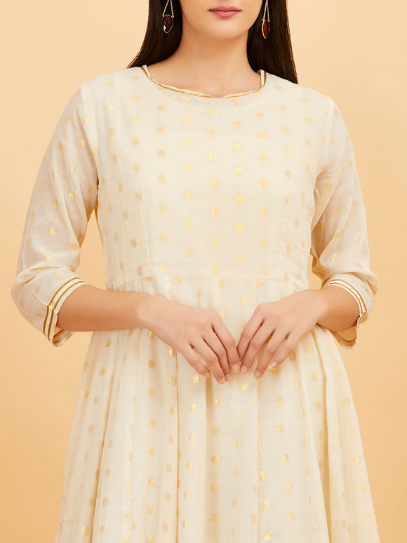 Off White Cotton Anarkali Dress