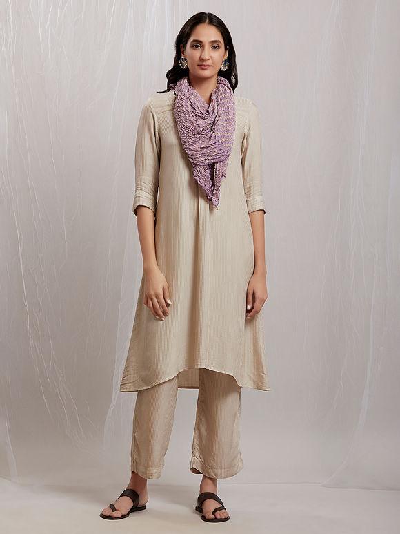 Beige Cotton Silk Kurta with Pants and Purple Bandhani Stole- Set of 3