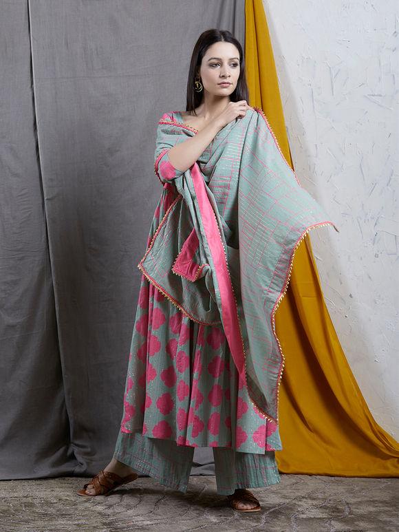 Grey Pink Printed Cotton Anarkali Suit - Set of 3