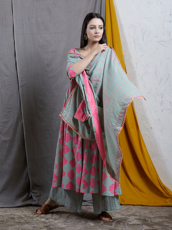 Grey Pink Checkered Cotton Dupatta