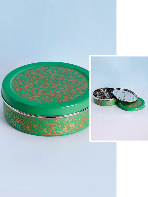 Green Hand Painted Steel Masala Box