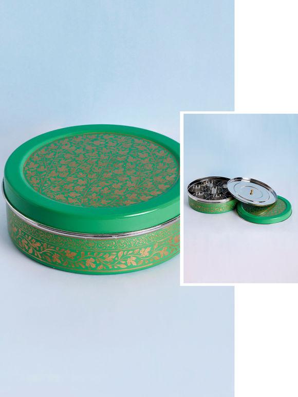 Green Hand Painted Steel Masala Box