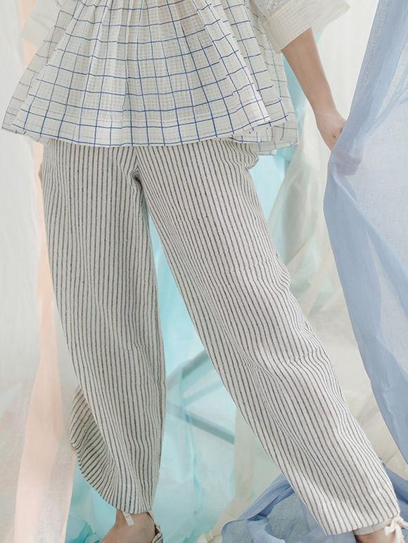 White Black Cotton Pants