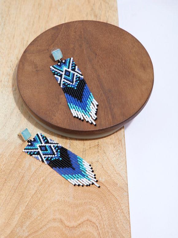 Multicolor Handbeaded Silver Talula Earrings