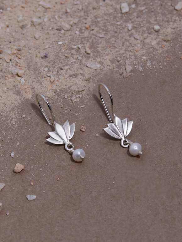 Silver Lotus Pearl Handcrafted Earrings