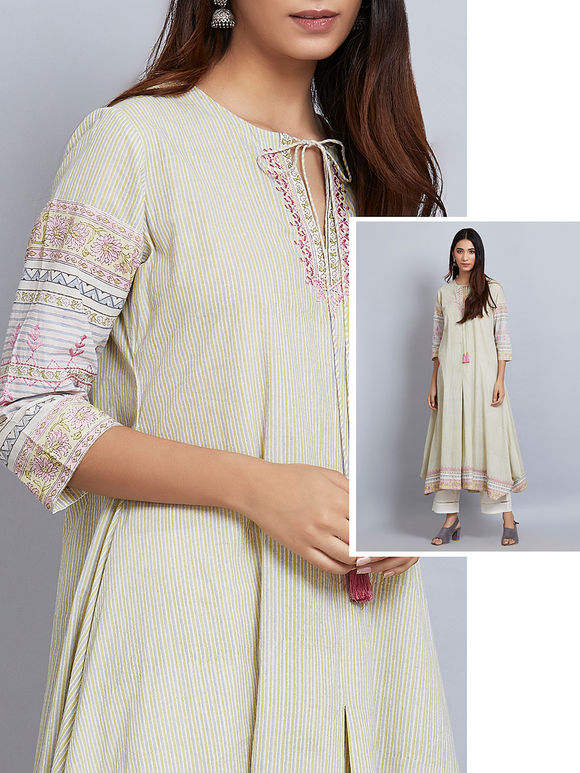 Pale Green Printed Cotton Embroidered Asymmetric Kurta