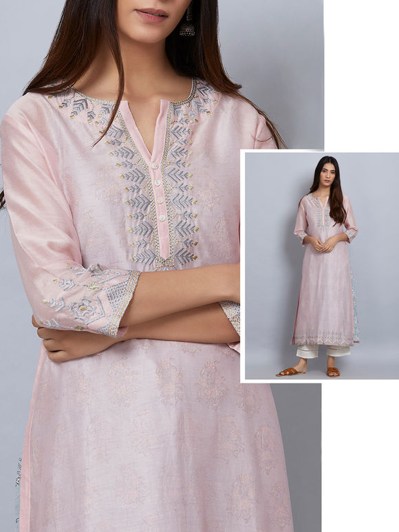 Pink Embroidered Chanderi Kurta with Powder Blue Printed Slip - Set of 2